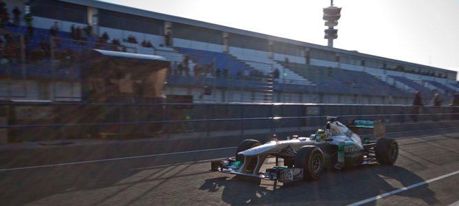 Nico Rosberg, liderando la tercera mañana en los test de Jerez