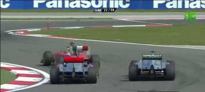 Massa, Rosberg y Button en el GP de Turquía 2011