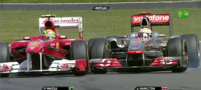 Massa y Hamilton en el GP de Gran Bretaña 2011