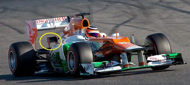 Pequeño alerón sobre el difusor en el Force India