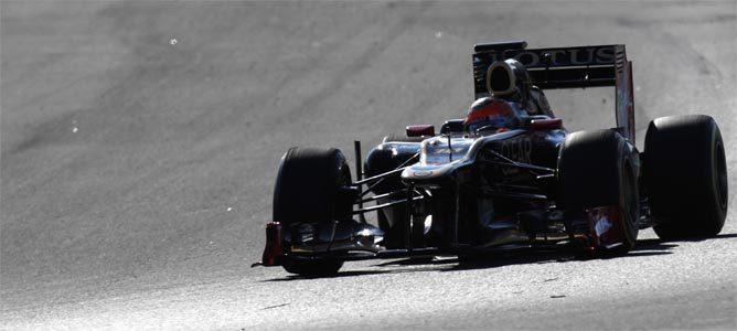 Grosjean rueda con el E20