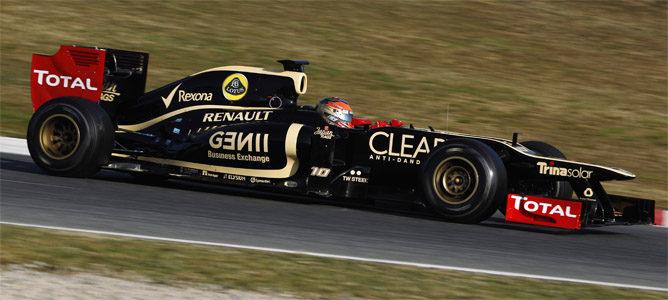 Grosjean rueda con el Lotus E20