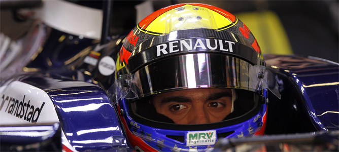 Maldonado sentado en el Williams