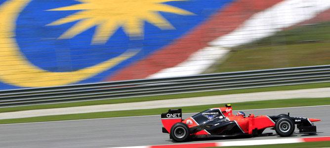 Charles Pic en el circuito de Sepang