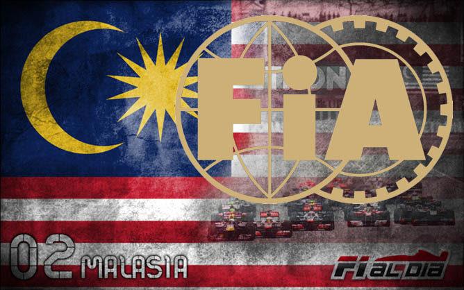 Cartel anunciador del GP y logo de la FIA