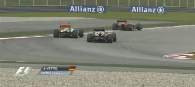 La maniobra entre Vettel y Karthikeyan