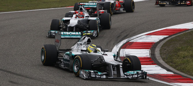 Los dos Mercedes en el GP de China