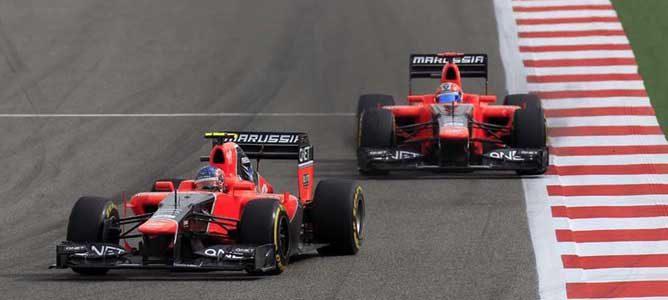 Los Marussia en el circuito de Sakhir