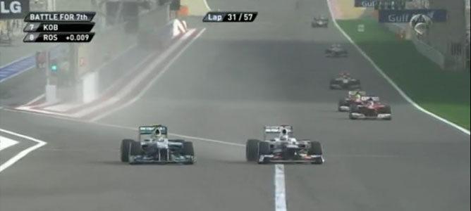 Rosberg y Kobayashi en el GP de Baréin