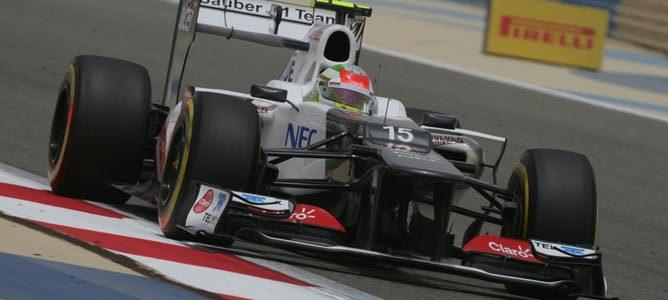 Sergio Pérez en el circuito de Sakhir