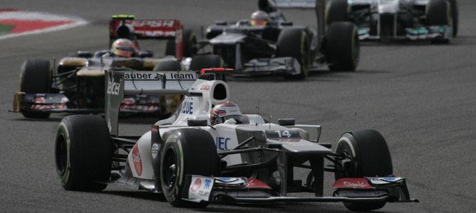 Kamui Kobayashi en el circuito de Sakhir