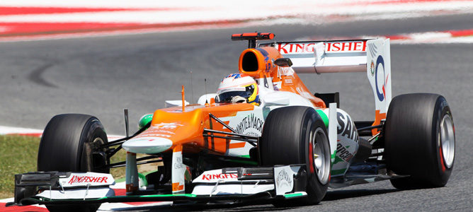 Un Force India en el asfalto de Montmeló