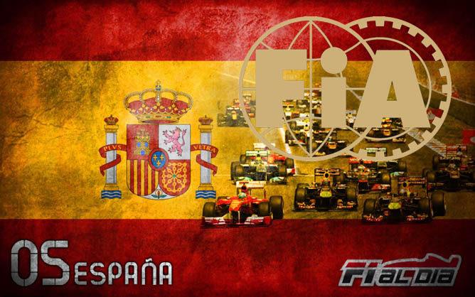 El escudo de la FIA sobre el cartel anunciador del GP de España