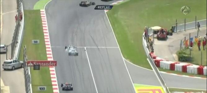 Schumacher y Senna en el GP de España