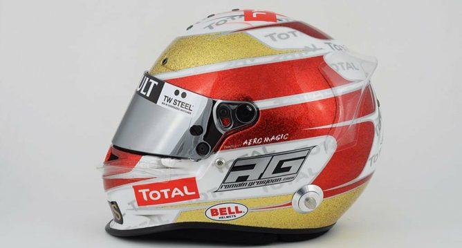 Casco de Romain Grosjean para el GP de Mónaco 2012