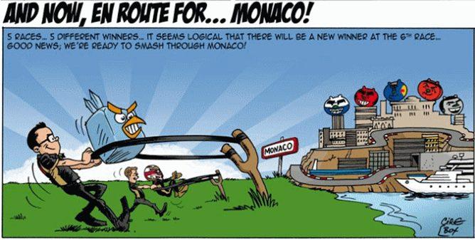 Viñeta del equipo Lotus para el GP de Mónaco 2012
