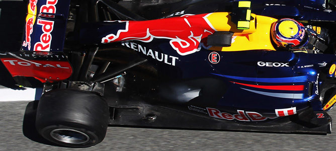 El fondo plano del RB8 en el GP de Mónaco