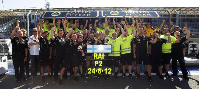 Lotus celebra el segundo puesto de Raikkonen en Valencia