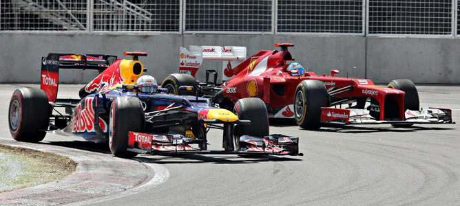 Sebastian Vettel y Fernando Alonso en Canadá 2012