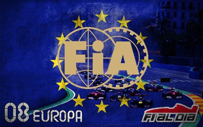 Logo de la FIA sobre el cartel anunciador del GP de Europa F1