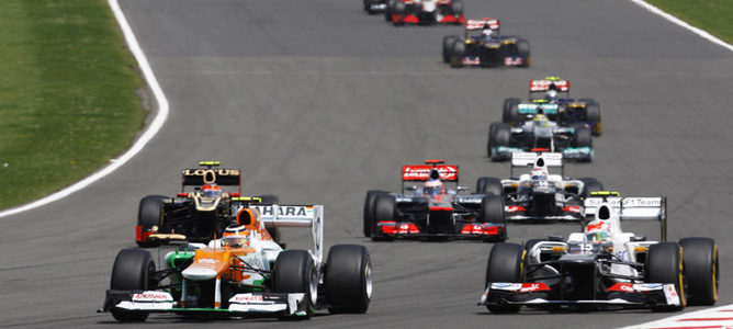 Un Force India sobre el asfalto de Silverstone