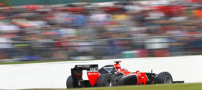 Un Marussia sobre el asfalto de Silverstone