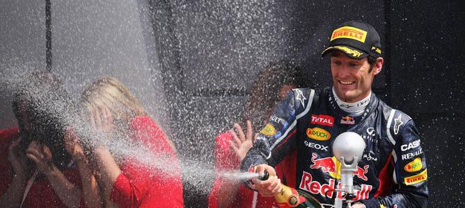 Mark Webber en el podio de Silverstone