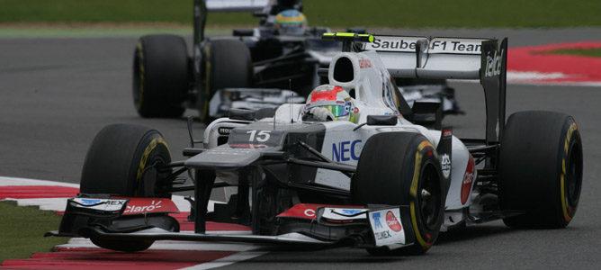 Sergio Pérez en el circuito de Silverstone