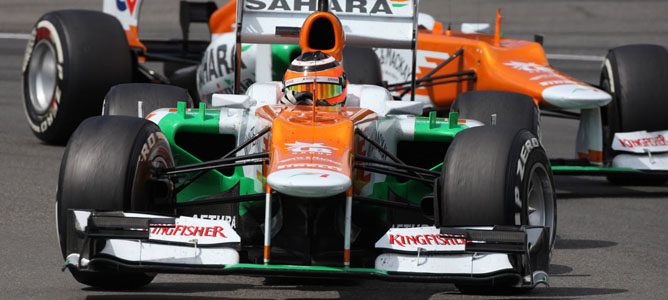 Los Force India en el circuito de Hockenheim