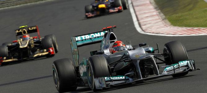Un Mercedes sobre el asfalto de Hungaroring
