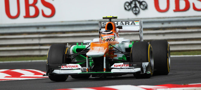 Un Force India sobre el asfalto de Hungaroring