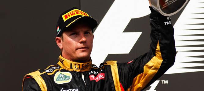 Kimi Räikkönen en el podio de Hungaroring