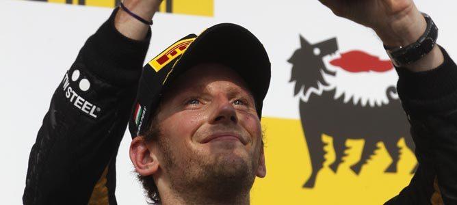 Romain Grosjean en el podio de Hungaroring