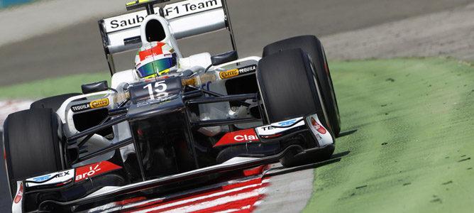 Sergio Pérez en la pista de Hungaroring