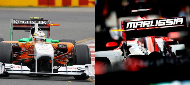 Alerón trasero con doble plano por delante, del Force India, y por detrás, del Marussia
