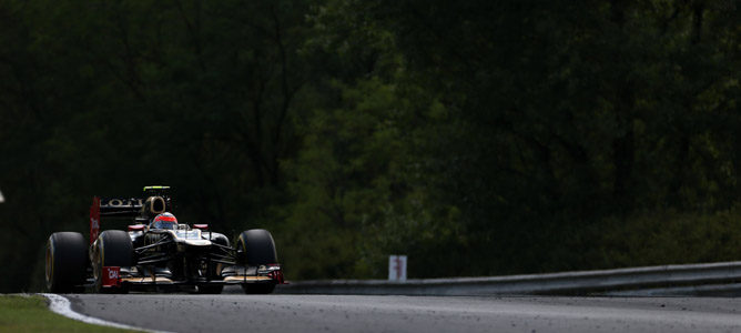 Romain Grosjean a bordo de su Lotus E20, 2012