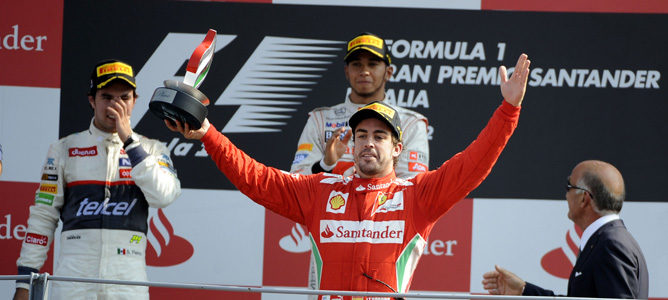 Fernando Alonso en el podio del GP de italia 2012, en Monza