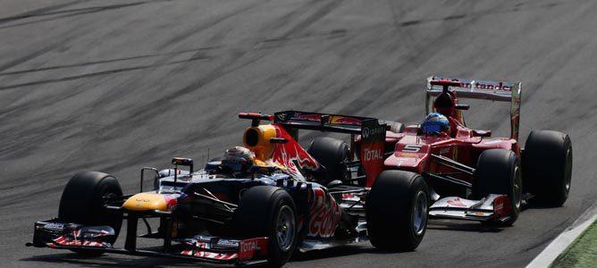 Sebastian Vettel en el asfalto de Monza
