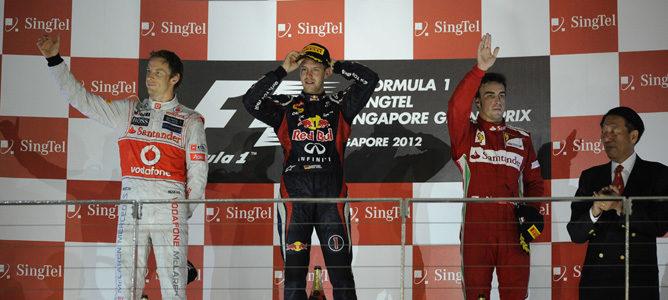 Podio del GP de Singapur 2012