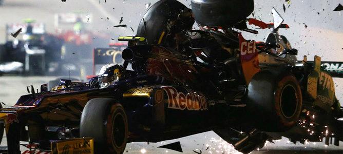 Accidente entre Schumacher y Vergne en Singapur 2012
