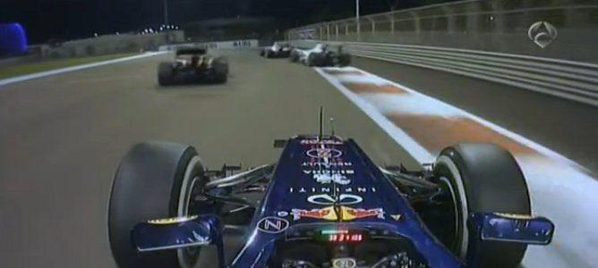 Sergio reingresando delante de Grosjean