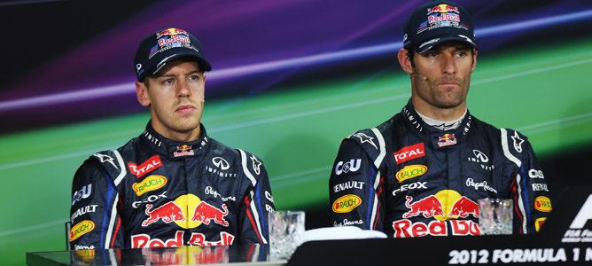 Webber y Vettel en la rueda de prensa del sábado en Corea