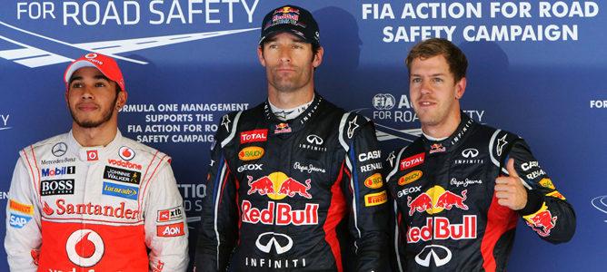 Webber, Vettel y Hamilton tras la clasificación de Corea 2012