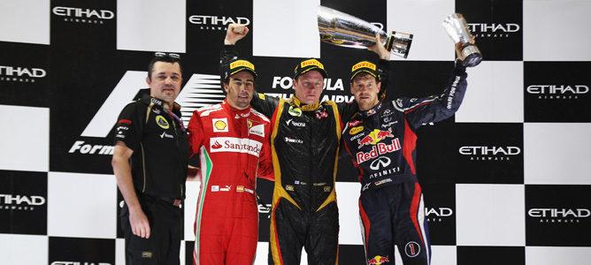 Raikkonen, Alonso y Vettel en el podio del GP de Abu Dabi 2012