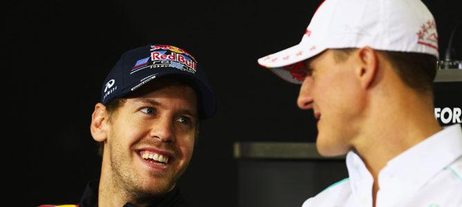Vettel y Schumacher en rueda de prensa