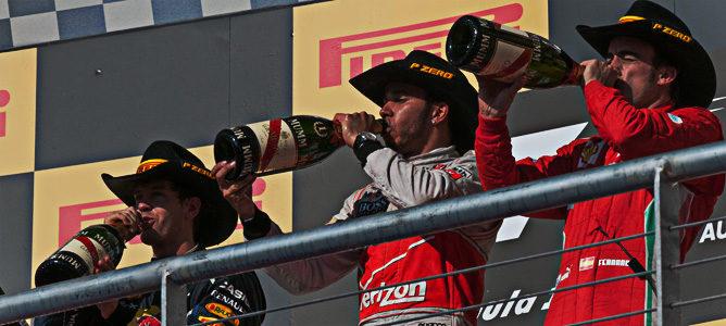 Hamilton, Vettel y Alonso en el podio de Austin