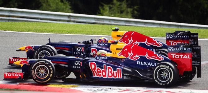 Vettel y Webber durante el GP de Bélgica 2012