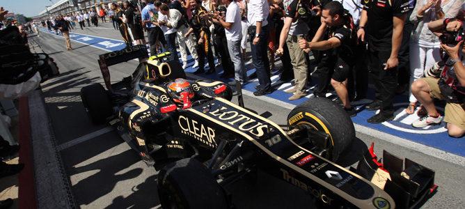 Romain Grosjean celebra su segundo puesto en el GP de Canadá 2012