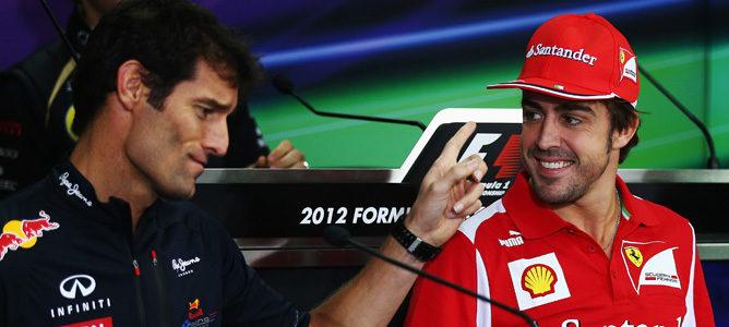 Mark Webber y Fernando A lonso durante una rueda de prensa en Corea 2012