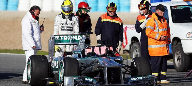 Nico Rosberg terminó su test antes de tiempo por un problema eléctrico